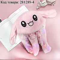 Шапка с двигающимися ушками светящаяся меховая зайка розовая