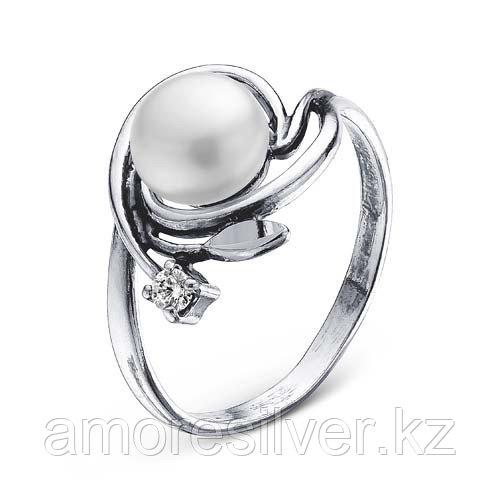 Серебряное кольцо с фианитом и жемчугом   Красная Пресня 2338022-5 размеры - 18