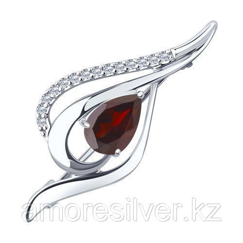 Брошь DIAMANT ( SOKOLOV ) серебро с родием, гранат фианит , замок-булавка 94-340-01045-2