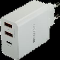 Быстрая и умная зарядка CANYON H-08 Universal 3xUSB AC (1 USB-C with PD Quick Charger),