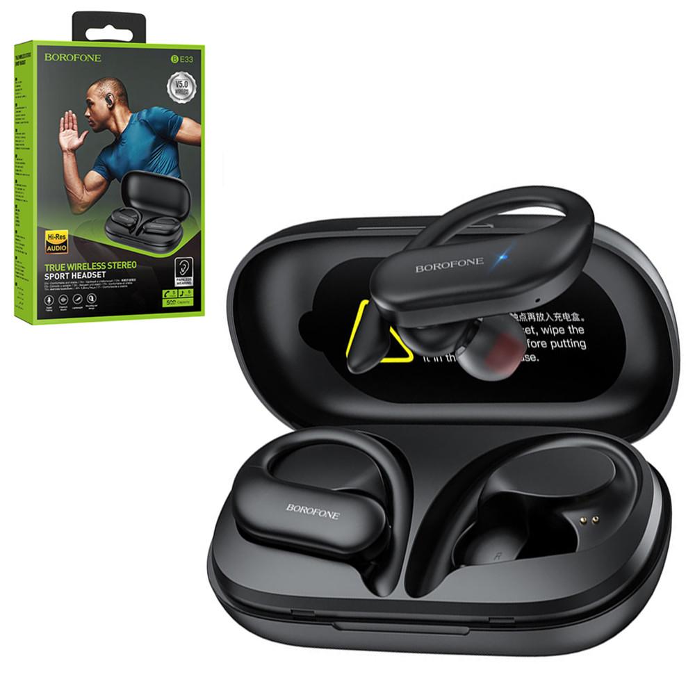 Bluetooth гарнитура Borofone BE33, Sport True Wireless, Black