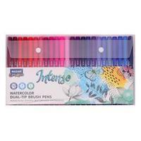 Набор двухсторонних акварельных маркеров Mazari INTENSO, 72 цвета, наконечники кисть и тонкое перо