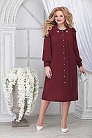 Женское осеннее шифоновое красное большого размера платье Ninele 2278 бордо 54р.