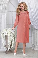 Женское осеннее шифоновое оранжевое большого размера платье Ninele 2278 персик 54р.