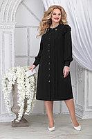 Женское осеннее шифоновое черное большого размера платье Ninele 2278 черный 54р.
