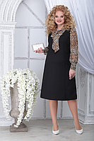 Женское осеннее шифоновое большого размера платье Ninele 2281 леопард 48р.