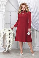 Женское осеннее шифоновое красное большого размера платье Ninele 5823 красный 48р.
