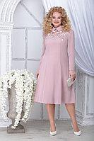 Женское осеннее шифоновое розовое большого размера платье Ninele 5823 пудра 48р.
