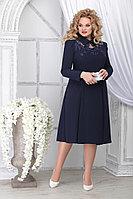 Женское осеннее шифоновое синее большого размера платье Ninele 5823 синий 48р.