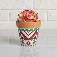 Кашпо керамическое Терракот с узором цветным 10*10,5см рисунок микс
