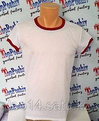 """Футболка """"Ложная сетка"""" 52 (XL) """"Style woman"""" цвет: белый, красная кайма"""