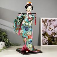 Кукла коллекционная 'Гейша в бирюзовом кимоно с цветами' 42х16,5х16,5 см