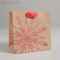 Пакет крафтовый квадратный «Снежинка», 14 × 14 × 9 см