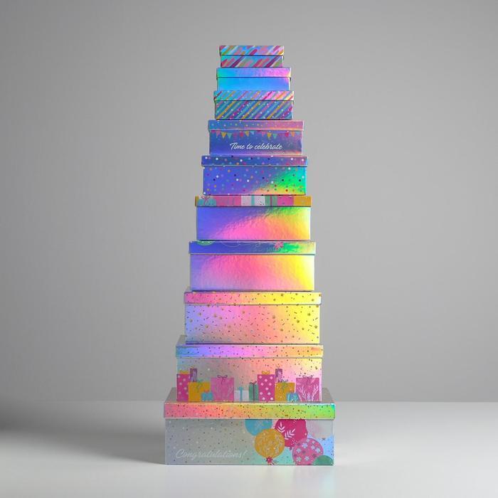 Набор иридисцентных коробок 10 в 1 «С Днем Рождения», 12 × 7 × 4 - 32.5 × 20 × 12.5 см - фото 2