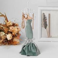 Подставка для урашений 'Силуэт девушки в платье', h28, цвет светло-зелёный