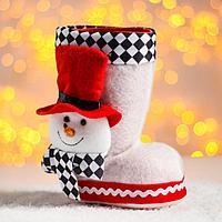 Конфетница «Сапожок», с объёмным снеговичком в шляпе, вместимость 400 г, цвет белый