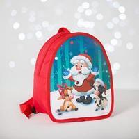 Рюкзак детский новогодний 'Дед Мороз и бычки' 20х23 см