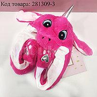 Шапка с двигающимися ушками светящаяся Единорог меховая темно-розовая