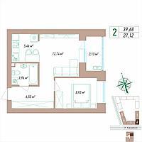 2 комнатная квартира 39.68 м², фото 1