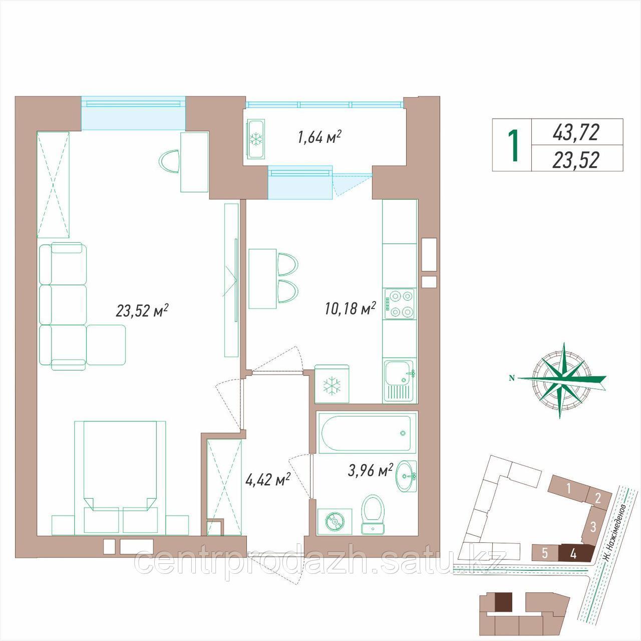 1 комнатная квартира 43.72 м²