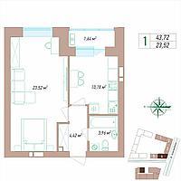 1 комнатная квартира 43.72 м², фото 1
