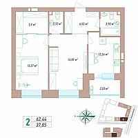 2 комнатная квартира 62.44 м², фото 1