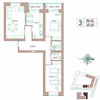 3 комнатная квартира 86.44 м², фото 1