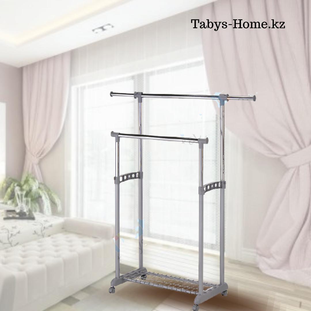Двойная раздвижная гардеробная вешалка Табыс EP 9098-1 (серый цвет)