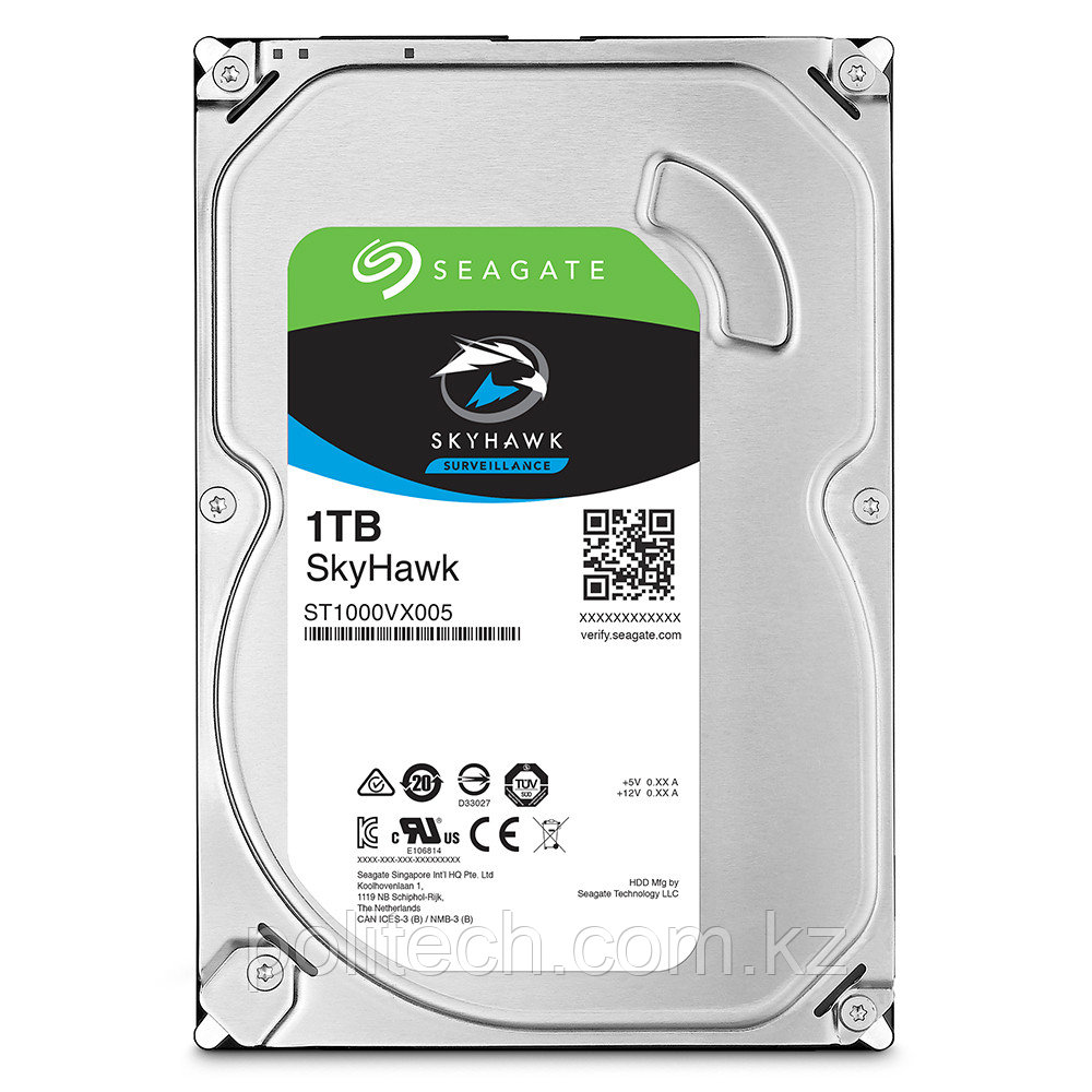 """Жесткий диск для видеонаблюдения 1Tb Seagate SkyHawk SATA3 3.5"""" 64Mb ST1000VX005. Диски выдерживают высокие"""