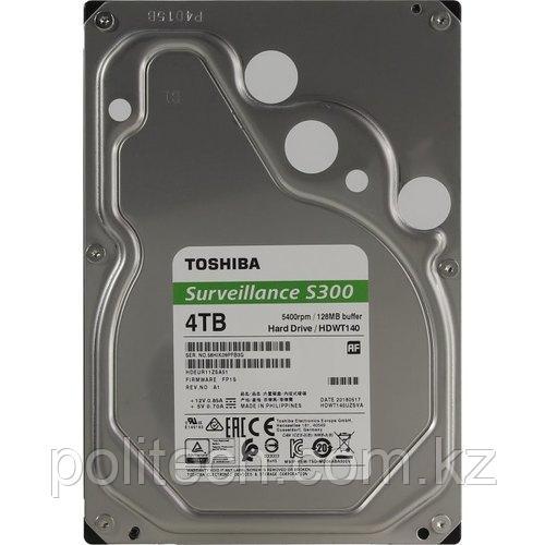 "Жесткий диск для Видеонаблюдения HDD 4Tb TOSHIBA Surveillance S300 5400rpm 128Mb SATA3 3,5"" HDWT140UZSVA MTBF"