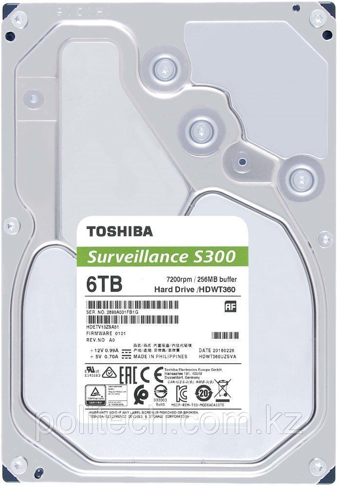 """Жесткий диск для Видеонаблюдения HDD 6Tb TOSHIBA Surveillance S300 7200rpm 256Mb SATA3 3,5"""" HDWT360UZSVA. Для"""