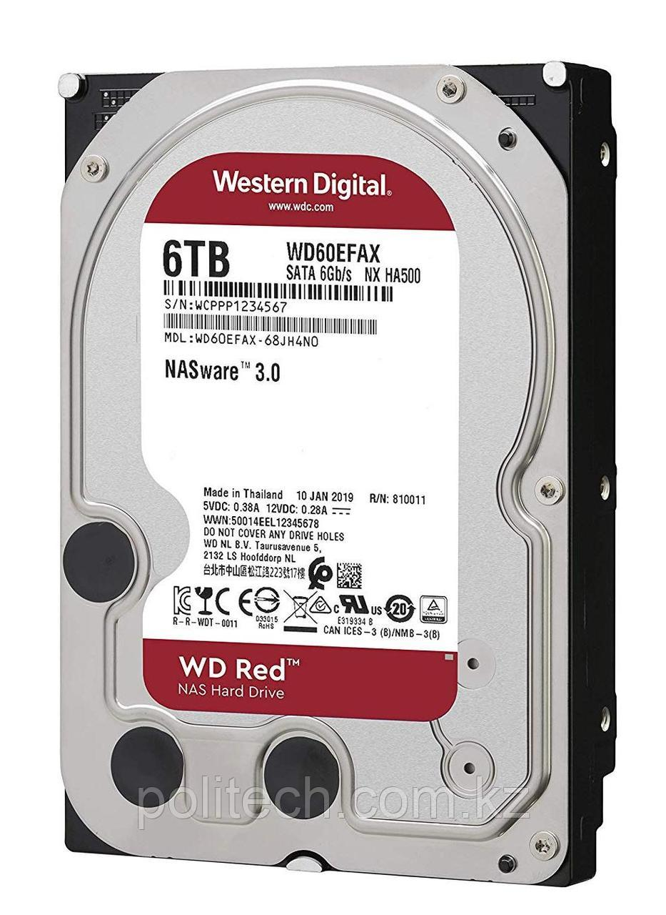 "Жесткий диск для NAS систем HDD 6Tb Western Digital RED SATA 6Gb/s 3.5"" 256Mb 5400rpm WD60EFAX"
