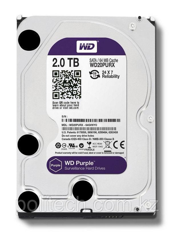 "Жесткий диск для видеонаблюдения HDD 2 Tb Western Digital Purple WD20PURZ SATA 6Gb/s 64Mb 3,5"". Создан для"