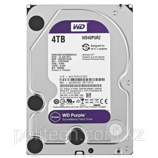 "Жесткий диск для видеонаблюдения HDD 4Tb Western Digital Purple SATA 6Gb/s 64Mb 3,5"" WD40PURZ Создан для"