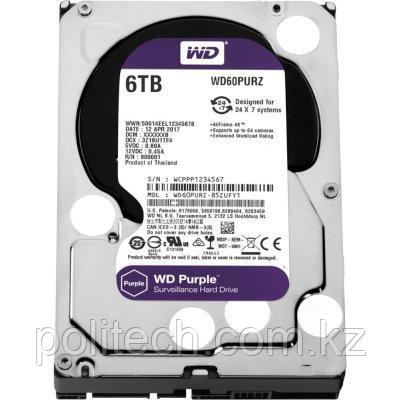 "Жесткий диск для видеонаблюдения HDD 6Tb Western Digital Purple WD60PURZ SATA 6Gb/s 64Mb 3,5"". Создан для"