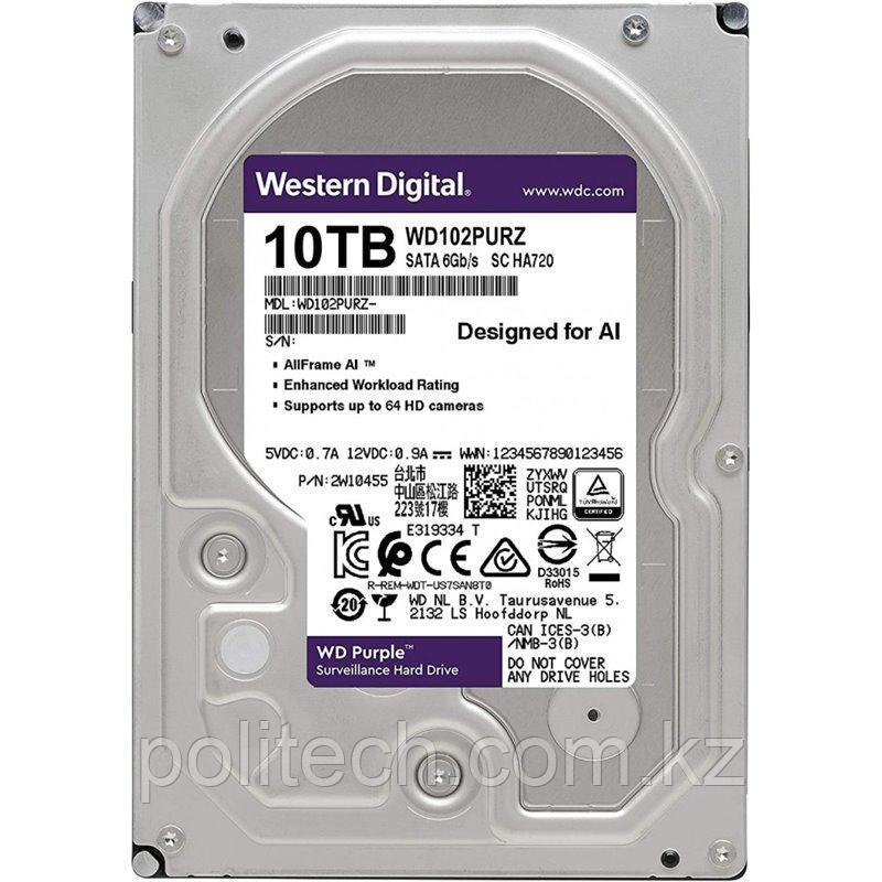 "Жесткий диск для видеонаблюдения HDD 10Tb Western Digital Purple Surveillance SATA 6Gb/s 256Mb 3,5"" 7200rpm"