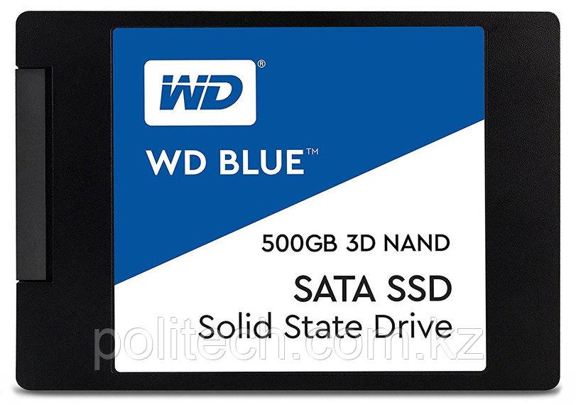 """Твердотельный накопитель 500GB SSD WD Серия BLUE 3D 2.5"""" 7мм SATA 6Gb/s Чтение 560Мб/с Запись 530Мб/с,"""