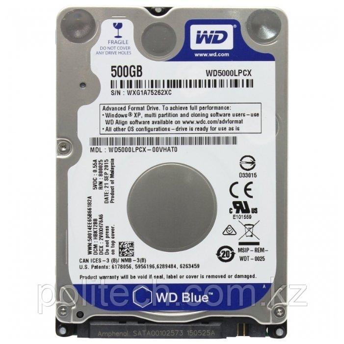 """Жесткий диск для ноутбука 500Gb WD Blue SATA 6Gb/s 2.5"""" 5400rpm 16Mb Толщина 7мм WD5000LPCX"""
