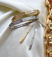 Браслет Cartier Love с цирконами и гравировкой. Копия ЛЮКС.