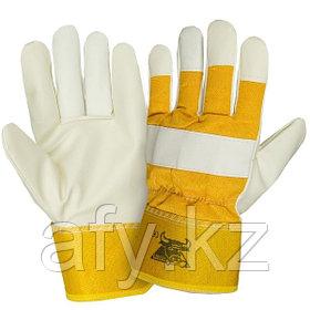 Кожаные перчатки комбинированные