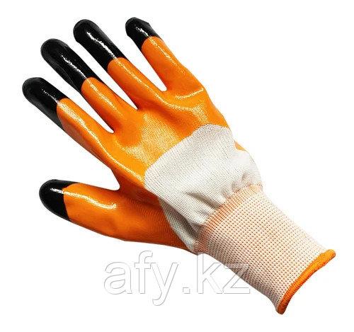 Рабочие перчатки нитриловые оранжевые