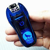 Электроимпульсная зажигалка с Волком, синяя. Фирма LIGHTER в подарочной коробке., фото 1