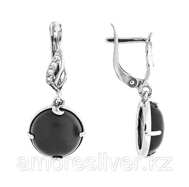 Серьги Приволжский Ювелир серебро с родием, коралл фианит, круг 351308