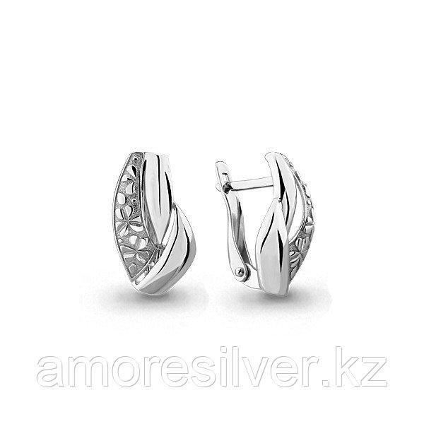 Серьги Аквамарин серебро с родием, флора 33221