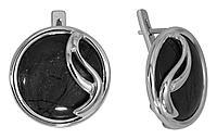 Серьги Невский из черненного серебра, нефрит 43450