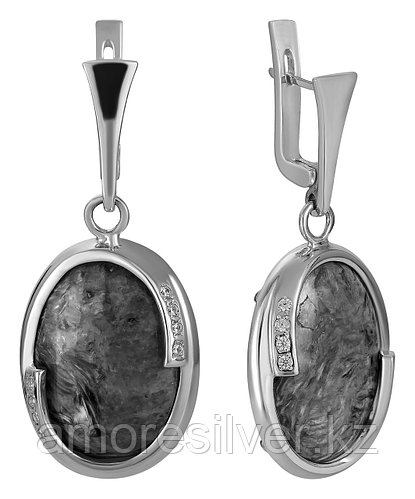Серьги Невский серебро с родием, кахолонг 43135Р