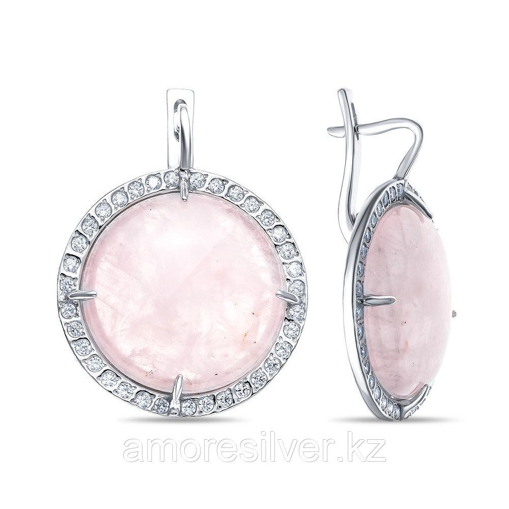 Серьги Невский серебро с родием, кварц розовый фианит 43119Р