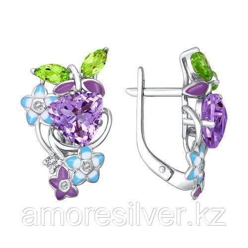 Серьги SOKOLOV серебро с родием, аметист фианит 92020558