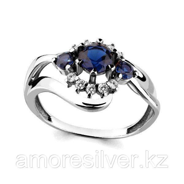 Кольцо Аквамарин серебро с родием, фианит 64824Б