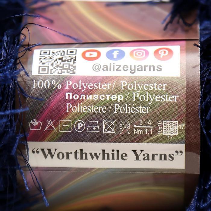 """Пряжа """"Decofur"""" 100% полиэстер 110м/100гр (58 темно-синий) - фото 2"""